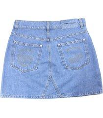 chiara ferragni light blue cotton blend skirt