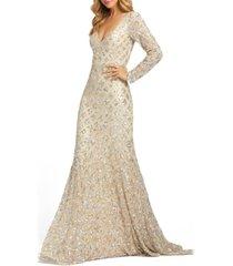 mac duggal embellished v-neck gown