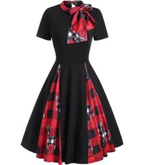christmas plaid elk print bowknot fit and flare dress