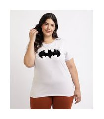 blusa feminina plus size batman manga curta decote redondo branca