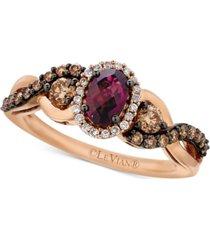 le vian chocolatier raspberry rhodolite garnet (5/8 ct. t.w.) and diamond (1/2 ct. t.w.) twist ring in 14k rose gold