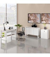 conjunto de escritã³rio com mesa, balcã£o e armã¡rio baixo 04 branco dallas - multicolorido - dafiti