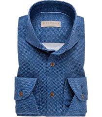 john miller blauw overhemd tailored fit dessin