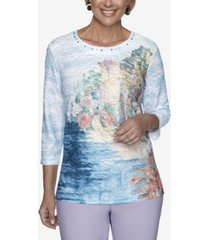 alfred dunner 3/4 sleeve scenic print textured knit top
