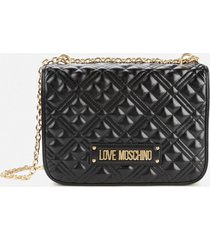 love moschino women's quilted small shoulder bag - black