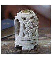 limestone oil warmer, 'floral delight' (indonesia)