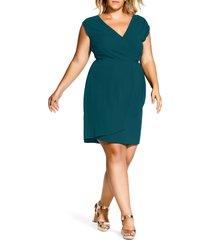 plus size women's city chic classic wrap style dress, size x-large - green