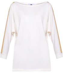 bluzka biała złoty pasek