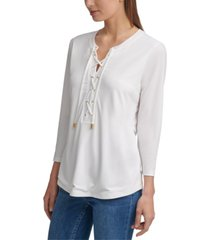 calvin klein solid 3/4-sleeve lace-up top