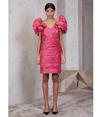 vestido atelier le lis yuka curto seda rosa feminino (fucsia, 50)