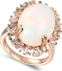 le vian baguette frenzy neopolitan opal (7-1/2 ct. t.w.) & diamond (1/2 ct t.w.) ring in 14k rose gold