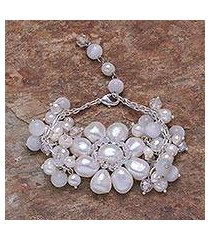pearl floral bracelet, 'snow garland' (thailand)