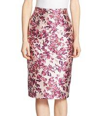 petal printed pencil skirt
