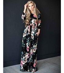 vestido largo estampado floral para mujer correa con cuello en v vestidos de playa divididos media manga suelta vestidos-negro