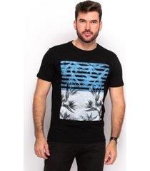 camiseta t shirt algodão teodoro masculino flores slim - masculino