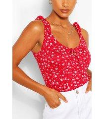 bloemenprint hemd met schouderstrikjes, rood