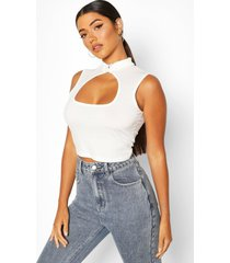 cut out detail crop top, ivory