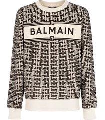 balmain ivory and black cotton sweatshirt