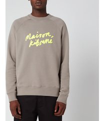 maison kitsuné men's handwriting sweatshirt - dark grey - xl