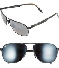 maui jim castles polarizedplus(r)2 61mm aviator sunglasses in matte black at nordstrom