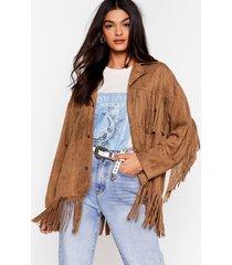 womens swing by faux suede fringe jacket - camel