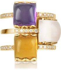 mia & beverly designer rings, gemstone and diamond 18k rose gold ring