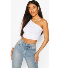 recycled one shoulder rib crop top, white