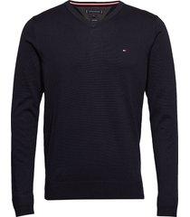 core cotton-silk vneck stickad tröja v-krage svart tommy hilfiger