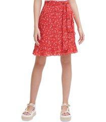 karl lagerfeld paris floral-print tie-front ruffled-hem skirt