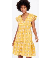loft floral eyelet henley ruffle sleeve dress