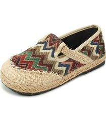 vintage scarpe basse slip-on a righe colorate con stile nazionale