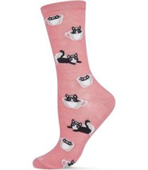 women's cup o' cats bamboo blend crew socks