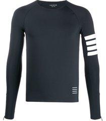 thom browne lightweight compression tech 4-bar t-shirt - blue
