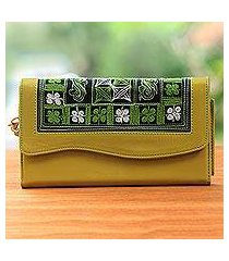cotton accent clutch, 'hulumasen in mustard' (indonesia)