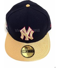 new era 59fifty mlb new york yankees navy/gold baseball wool fitted cap hat