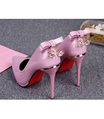 pp432 candy color pump w rhinestone & bowtie back us size size 4 to 8.5 pink