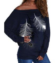 yoins camiseta de manga larga con hombros descubiertos y estampado de plumas azul marino