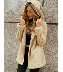 abrigo de manga larga con cuello de solapa y dos bolsillos grandes yoins