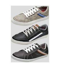 kit 3 pares sapatênis casual dexshoes multicolorido