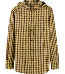 balenciaga checked hooded shirt - yellow
