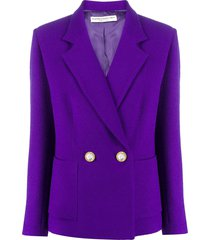alessandra rich crystal-embellished double-breasted blazer - purple