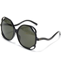 jerry' angular cutout acetate frame oversized sunglasses