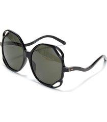 jerry' angular cutout acetate frame oversized sunglasses