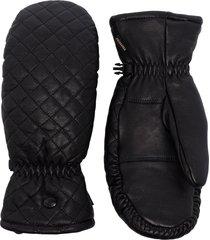 goldbergh leather quilted ski gloves - black