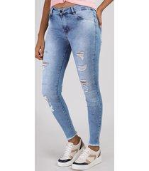calça jeans feminina sawary super skinny push up cintura alta destroyed azul claro