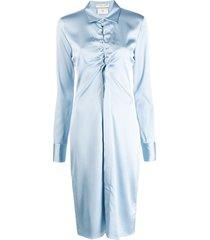 bottega veneta ruched cut-out shirt dress - blue
