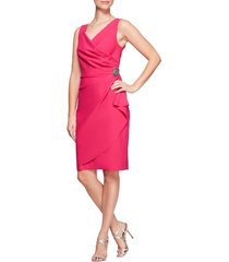 women's alex evenings side ruched cocktail dress, size 16 - pink