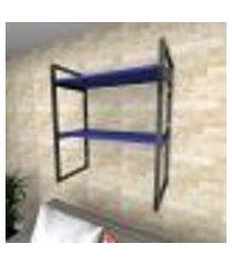 prateleira industrial para sala aço preto prateleiras 30 cm azul escuro modelo ind08azsl