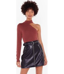 womens all for one shoulder ribbed knit top - mocha