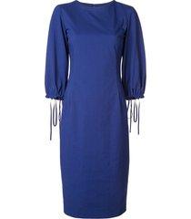 oscar de la renta tied-cuffs pencil dress - blue